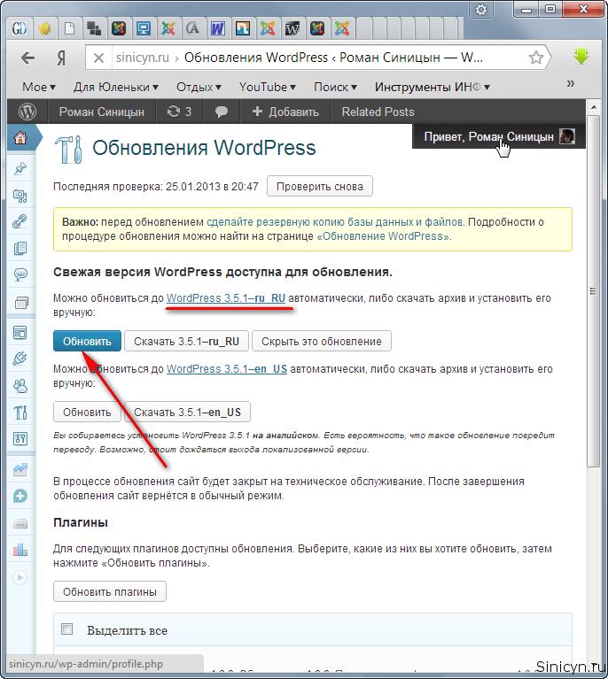 WordPress 3.5.1! Пожалуйста, обновитесь.